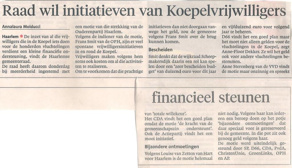 Raad wil initiatief van Koepelvrijwilligers financieel steunen (Haarlems Dagblad zaterdag 28 november 2015)
